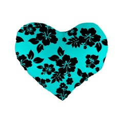 Blue Dark Hawaiian Standard 16  Premium Heart Shape Cushions
