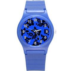 Dark Blue Hawaiian Round Plastic Sport Watch (S)