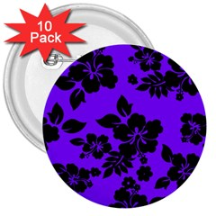 Violet Dark Hawaiian 3  Buttons (10 Pack)