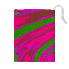 Swish Bright Pink Green Design Drawstring Pouches (Extra Large)