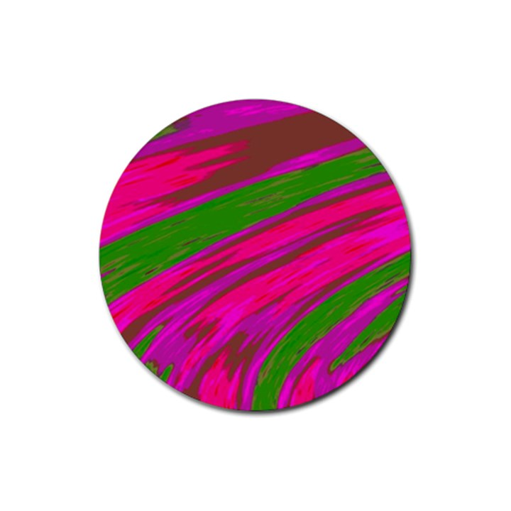 Swish Bright Pink Green Design Rubber Coaster (Round)