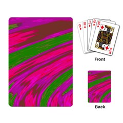Swish Bright Pink Green Design Playing Card