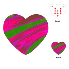 Swish Bright Pink Green Design Playing Cards (Heart)