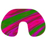 Swish Bright Pink Green Design Travel Neck Pillows Back