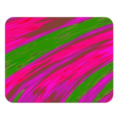 Swish Bright Pink Green Design Double Sided Flano Blanket (Large)