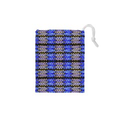 Pattern Tile Blue White Green Drawstring Pouches (XS)