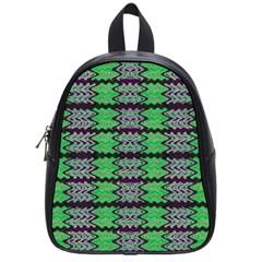Pattern Tile Green Purple School Bags (Small)