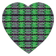 Pattern Tile Green Purple Jigsaw Puzzle (heart)