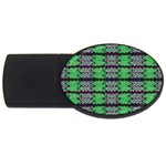 Pattern Tile Green Purple USB Flash Drive Oval (4 GB)  Front