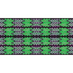 Pattern Tile Green Purple YOU ARE INVITED 3D Greeting Card (8x4)