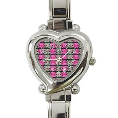 Pattern Tile Pink Green White Heart Italian Charm Watch