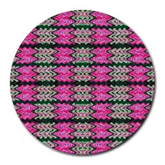 Pattern Tile Pink Green White Round Mousepads