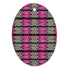 Pattern Tile Pink Green White Oval Ornament (two Sides)