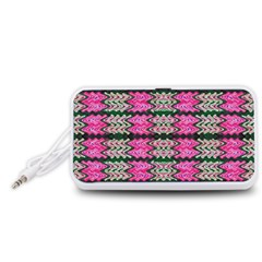Pattern Tile Pink Green White Portable Speaker (White)