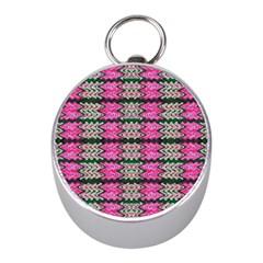 Pattern Tile Pink Green White Mini Silver Compasses