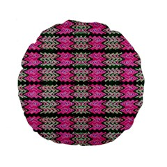 Pattern Tile Pink Green White Standard 15  Premium Flano Round Cushions