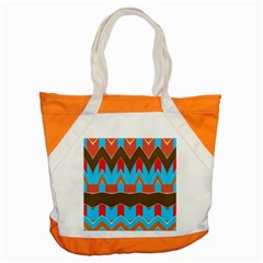 Blue brown chevrons                                                                       			Accent Tote Bag