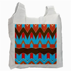 Blue brown chevrons                                                                       Recycle Bag (One Side)