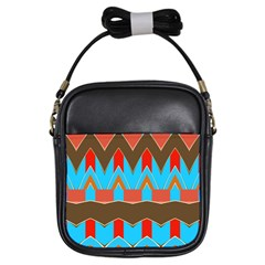 Blue brown chevrons                                                                       			Girls Sling Bag