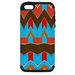 Blue brown chevrons                                                                       Apple iPhone 5 Hardshell Case (PC+Silicone)