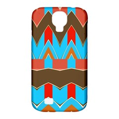 Blue brown chevrons                                                                       			Samsung Galaxy S4 Classic Hardshell Case (PC+Silicone)
