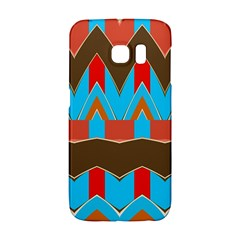 Blue brown chevrons                                                                       			Samsung Galaxy S6 Edge Hardshell Case