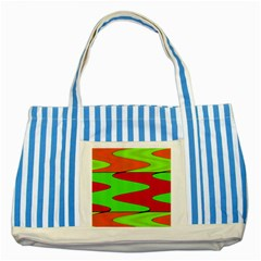 Wavy Design                                                                        			striped Blue Tote Bag