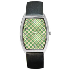 Crisscross Pastel Green Beige Barrel Style Metal Watch