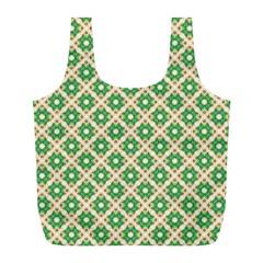Crisscross Pastel Green Beige Full Print Recycle Bags (L)