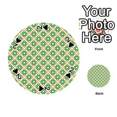 Crisscross Pastel Green Beige Playing Cards 54 (Round)