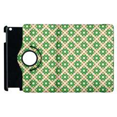 Crisscross Pastel Green Beige Apple iPad 2 Flip 360 Case