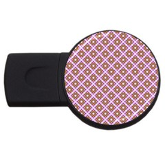 Crisscross Pastel Pink Yellow USB Flash Drive Round (2 GB)