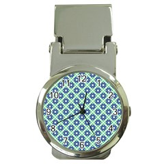 Crisscross Pastel Turquoise Blue Money Clip Watches