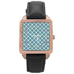 Crisscross Pastel Turquoise Blue Rose Gold Leather Watch