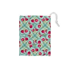 Love Motif Pattern Print Drawstring Pouches (Small)