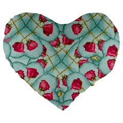 Love Motif Pattern Print Large 19  Premium Flano Heart Shape Cushions