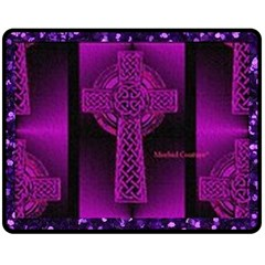 Purple Celtic Cross Double Sided Fleece Blanket (Medium)