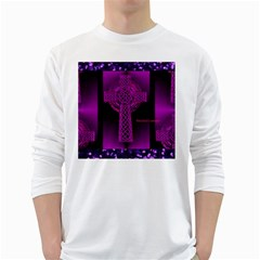 Purple Celtic Cross White Long Sleeve T-Shirts