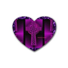 Purple Celtic Cross Heart Coaster (4 pack)