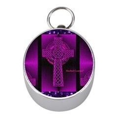 Purple Celtic Cross Mini Silver Compasses