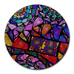 Fractal Stained Glass Round Mousepads
