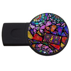 Fractal Stained Glass Usb Flash Drive Round (2 Gb)