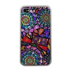 Fractal Stained Glass Apple Iphone 4 Case (clear)