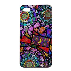 Fractal Stained Glass Apple iPhone 4/4s Seamless Case (Black)