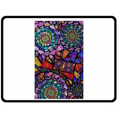 Fractal Stained Glass Double Sided Fleece Blanket (Large)