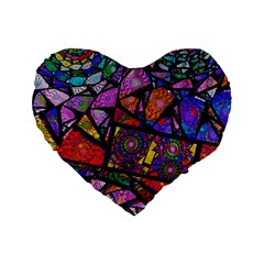 Fractal Stained Glass Standard 16  Premium Flano Heart Shape Cushions