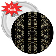 Vertical Stripes Tribal Print 3  Buttons (10 pack)