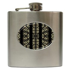 Vertical Stripes Tribal Print Hip Flask (6 Oz)