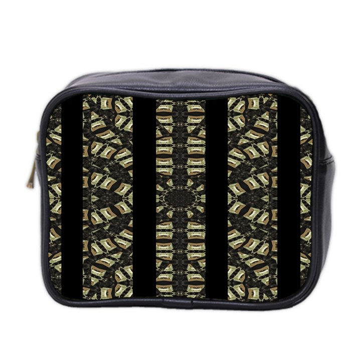 Vertical Stripes Tribal Print Mini Toiletries Bag 2-Side