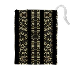 Vertical Stripes Tribal Print Drawstring Pouches (Extra Large)